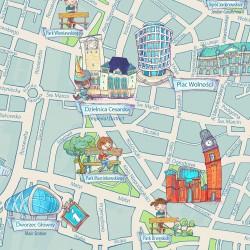Poznań - rysunkowa mapa turystyczna dla dzieci i rodzin